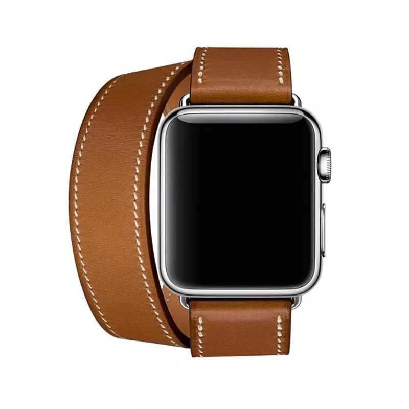 כפול סיור להקת עבור אפל שעון סדרת 5 4 3 2 1 רצועת עבור iWatch חגורת עור אמיתי באיכות גבוהה לולאה 38mm/40mm/42mm/44mm