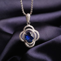 Wholesale Cluster Diamond Necklace For Women 18K White Gold Natural Sapphire Flower Pendant Jewelry Gem Gold