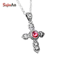 Szjinao punk fashion retro romantic woman real 925 sterling silver cross ruby pendant carving decorative pattern wholesale