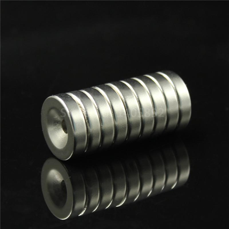 2pcs 40 x 10 mm Hole: 6mm super Strong Round Neodymium Countersunk Ring Magnets Rare Earth N50 Free Shipping earth 2 vol 6