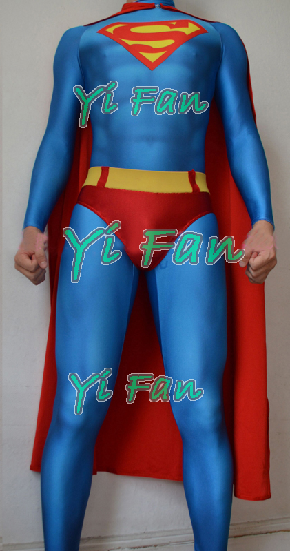 Free Shipping 3D Printing Superman Costume Lycra Spandex Superman Cosplay Suit Halloween Zentai Catsuit Hot Sale