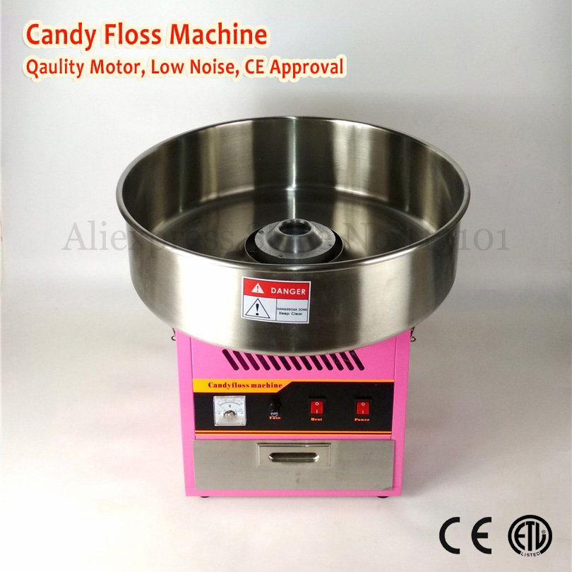 Electric Cotton Candy Machine Commercial Candy Floss Maker 52cm Stainless Steel Bowl Pink Color 220V 1030W with Drawer electric candy floss maker pink cotton candy machine with stainless steel bowl 420w 220v diy home use