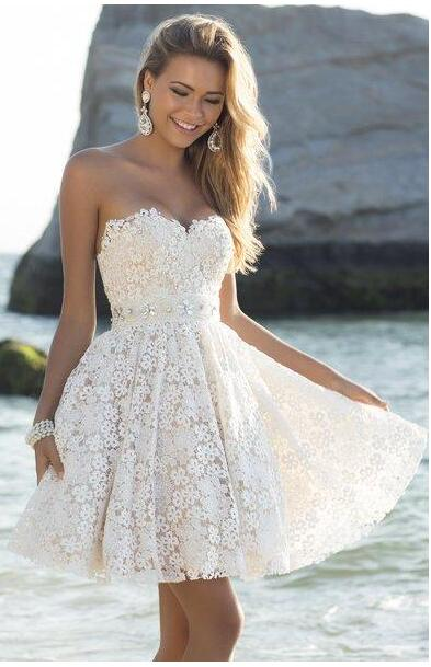 2017 Lace Bridesmaid Dresses Blush Short Sweetheart Beaded Waist Ivory Junior Bridemaid Dress Beach Wedding Party