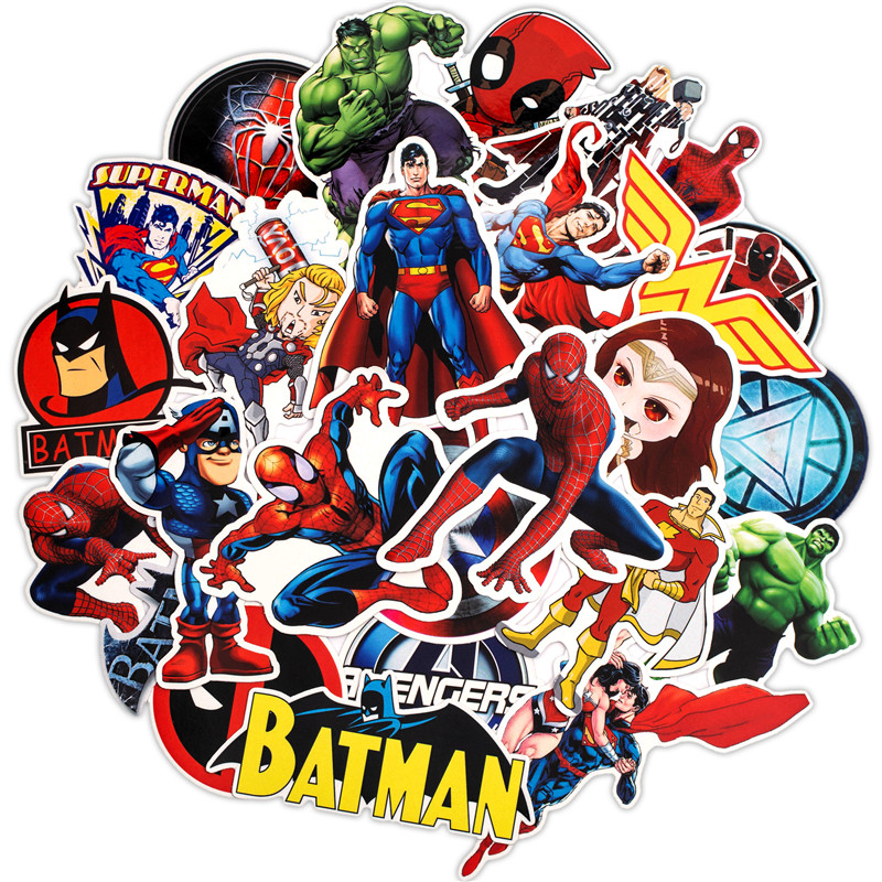 50PCS Super Hero Marvel Stickers Pack Movies Character Sticker For DIY Skateboard Motorcycle Luggage Laptop Cartoon Sticker Sets