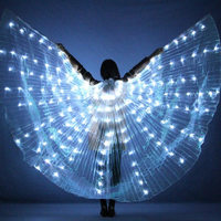 Women LED Light Isis Wings Belly Dance Costumes 360 Degree Sticks Performance Dancing Supplies Props Vestidos