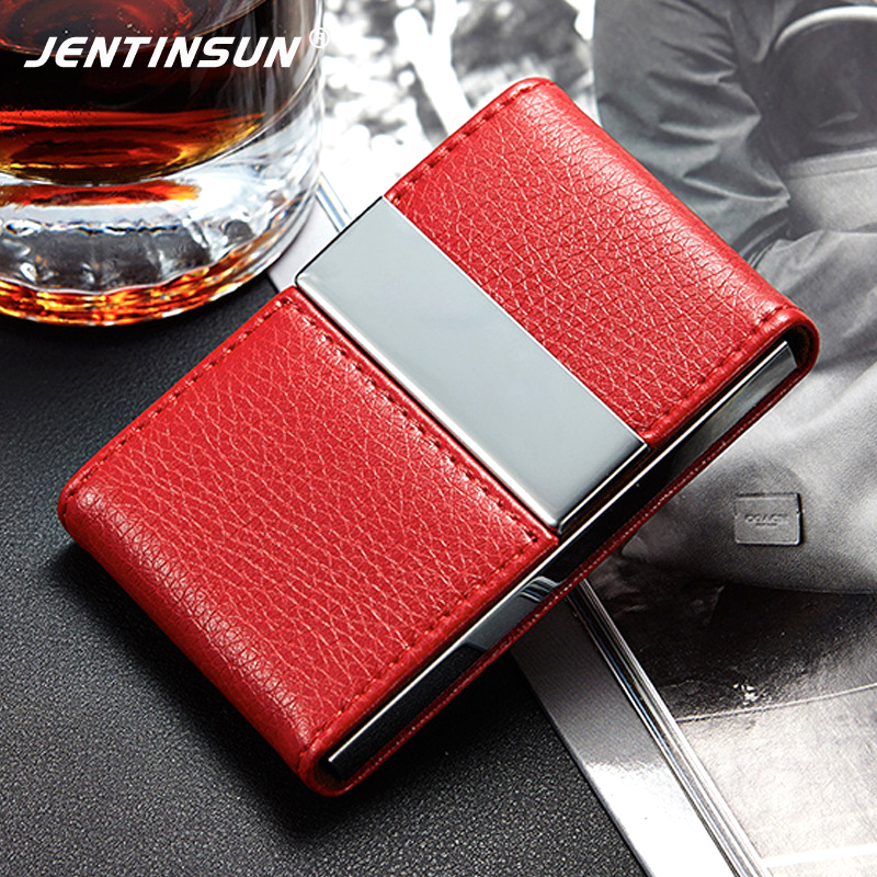 Big Capacity Business Name Card Holder Credit Card Holder Fashion Unisex PU Leather Card Case Wallet Alloy Business Card Box