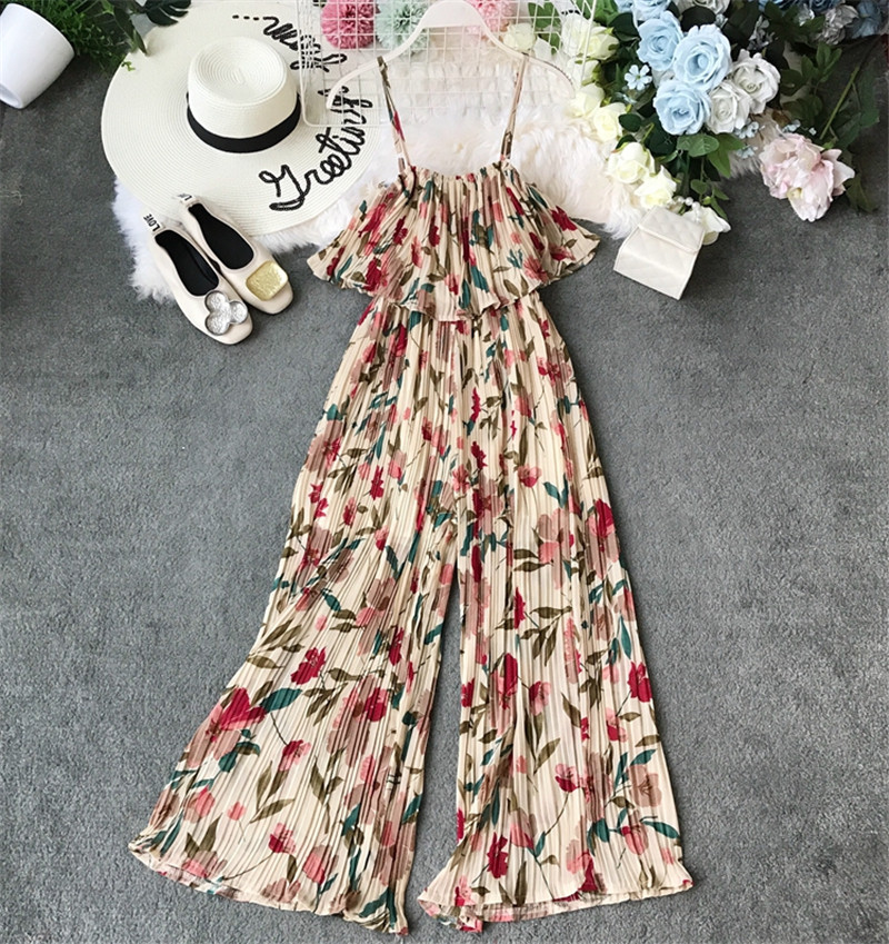 Limiguyue women print floral ruffles chiffon pleated jumpsuit summer bohemian wide legs casual jumpsuit outfit rompers T772