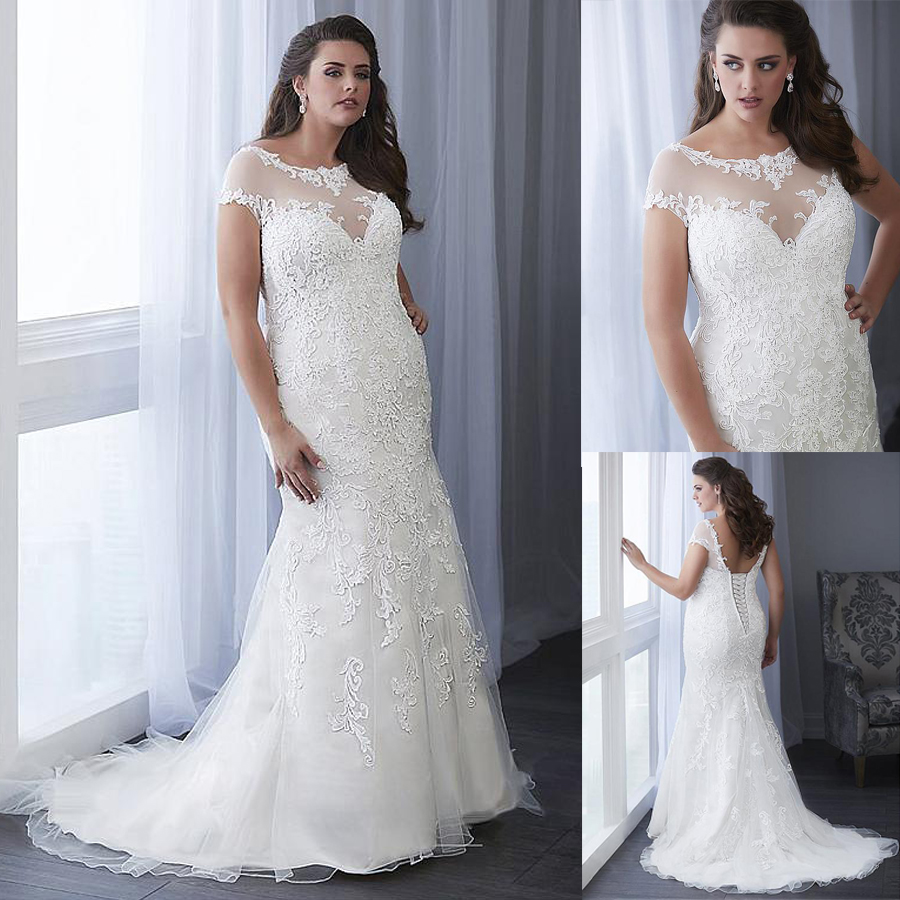 Fascinating Tulle Scoop Neckline Mermaid Plus Size Wedding Dress With Lace Appliques & Beadings Plus Size Bridal Gowns 26W