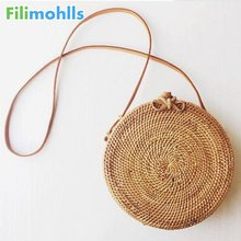 Popular 2019 hot sale Vietnam Hand Woven Bag Round Rattan Bags Style Beach Circle Shoulder Bag crossbody bags for women S1459(China)