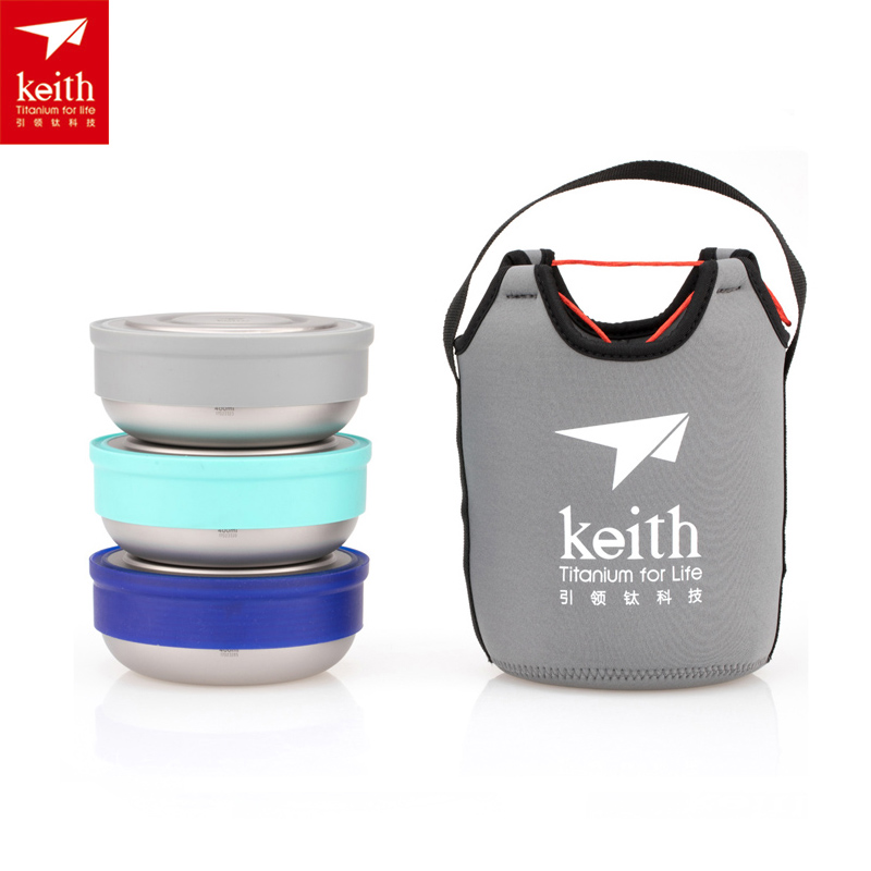 Keith 3pcs/set Titanium Lunch Boxes Dinner Box Ultralight Outdoor Camping Titanium Bowl with Lid Only 102g/piece cute hamburger lunch box with utensils set