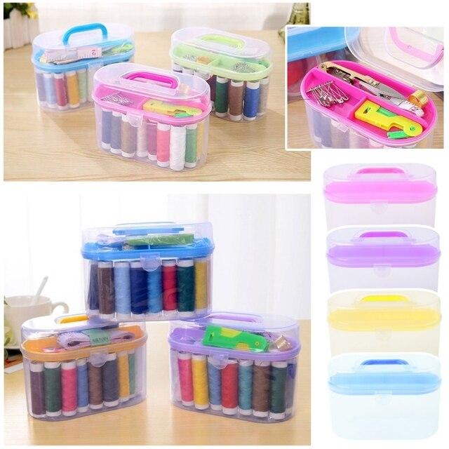 Kit de costura herramienta de almacenamiento caja aguja tijeras de hilo organizador contenedor de medicina