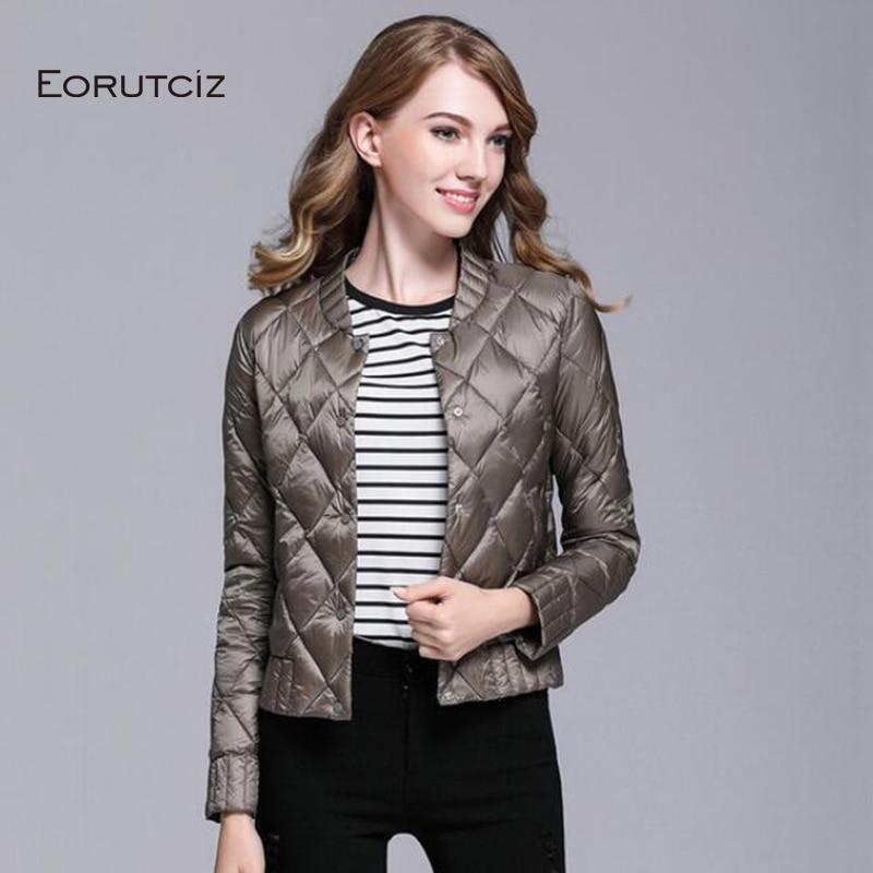 EORUTCI Winter Plus Size 3XL   Down     Coat   Women Short Ultra Light Jacket Vintage Black Casual Autumn Slim   Coat   LM364