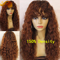 Brazilian Curly Wave #33 Brown Color Lace Front Wig With Bangs 150% Density Virgin Hair Wigs Glueless Full Lace Human Hair Wigs