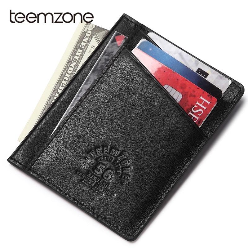 Teemzone Super Slim Soft Wallet 100% Genuine Leather Mini Credit Card Wallet Purse Card Holders Men Wallet Thin Small K374