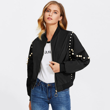 Europe And America Fashion New Women's Spring Jacket Pearl Long Sleeve Loose Basic Baseball Outwear Jackets Casual Ladies Jacket
