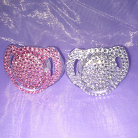 Hot New Pink Silvery Princess Bling Crystal Rhinestone Baby Pacifier Nipples Dummy Cocka Chupeta Pacifier Clips