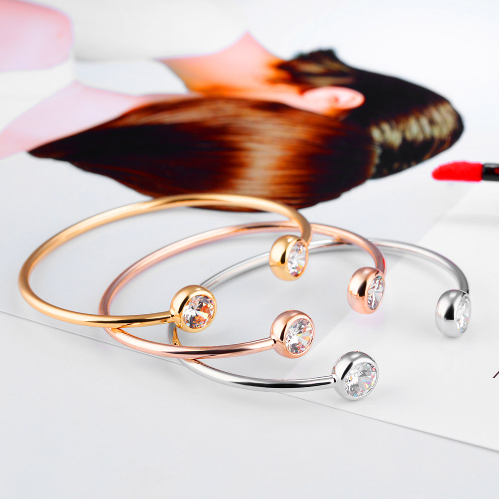 Lokaer Trendy Rose Gold/Gold/Steel Color Open Bangles For Women Girl Stainless Steel Inlaid Cubic Zirconia Cuff Bracelets B18094