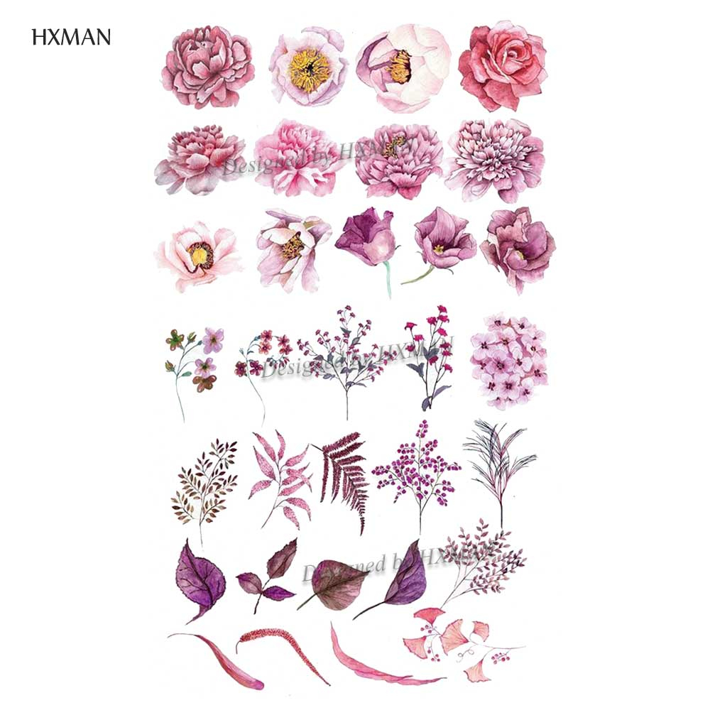 HXMAN Flower Temporary Tattoos Sticker Waterproof Fashion Women Arm Face Fake Body Art 9.8X6cm Kids Adult Hand Tatoo P-060