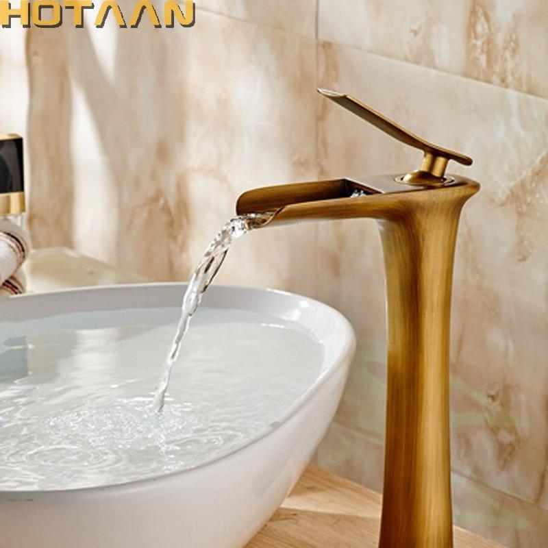 Free shipping Basin Faucet Antique Brass waterfall Bathroom Basin Sink Mixer Tap Crane torneira YT 5087