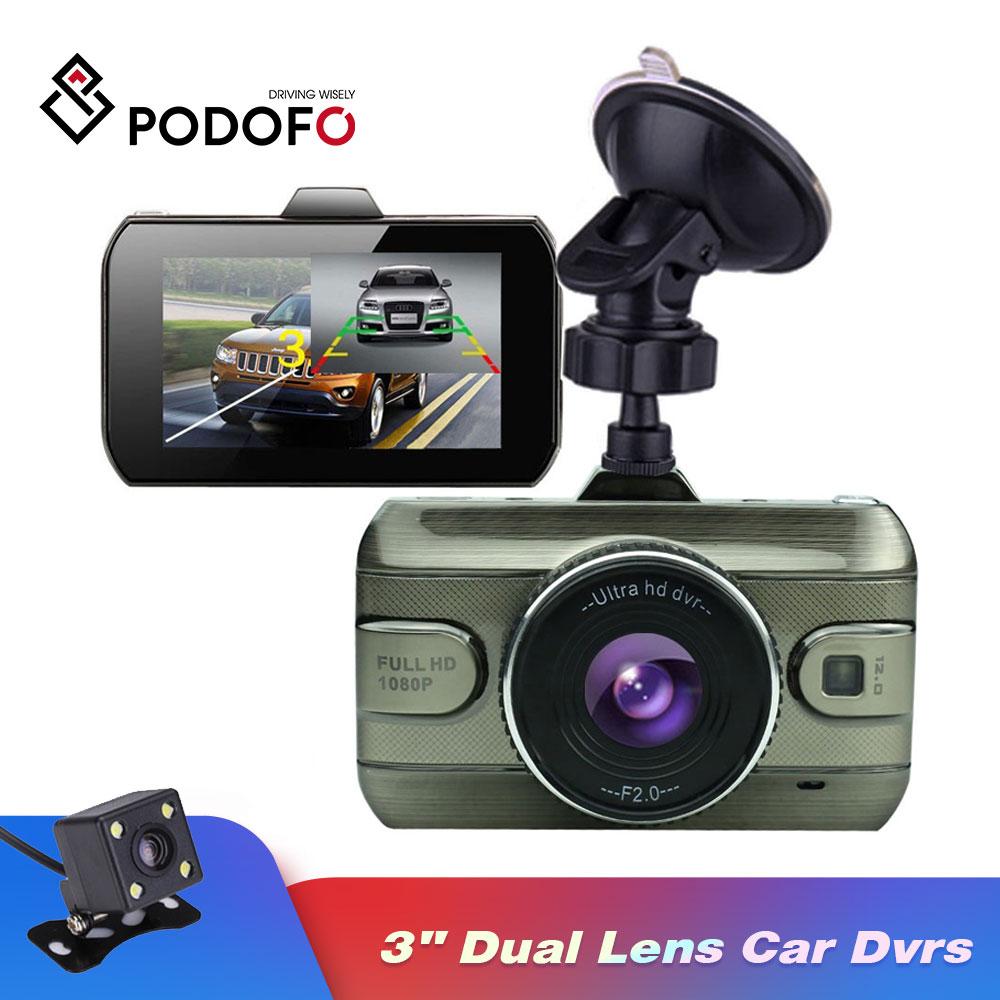 Podofo 3 inch Dual Lens Car Dvrs Registrator Video Recorder Camcorder Dash Cam Rear View Backup