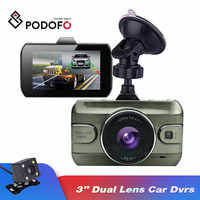 Podofo 3 inch Dual Lens Car Dvrs Registrator Video Recorder Camcorder Dash Cam Rear View Backup Camera Loop Recording Dvrs