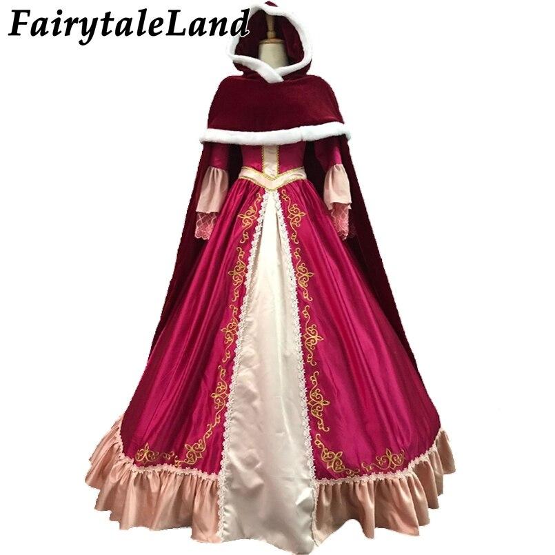 Christmas Halloween Dress Cosplay Princess Costume Cartoon Beauty and the Beast Belle Costume Cosplay Hood Belle Dress