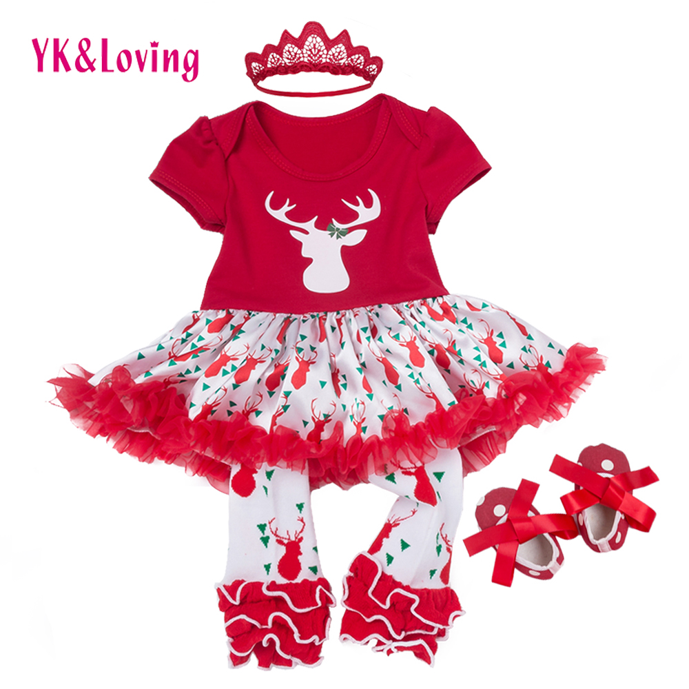 Christmas Baby Girl Dresses Cotton Red Romper Tutu Lace Tulle Reindeer Clothes Infant Party Clothing Outfits Dress Costume 0-2T