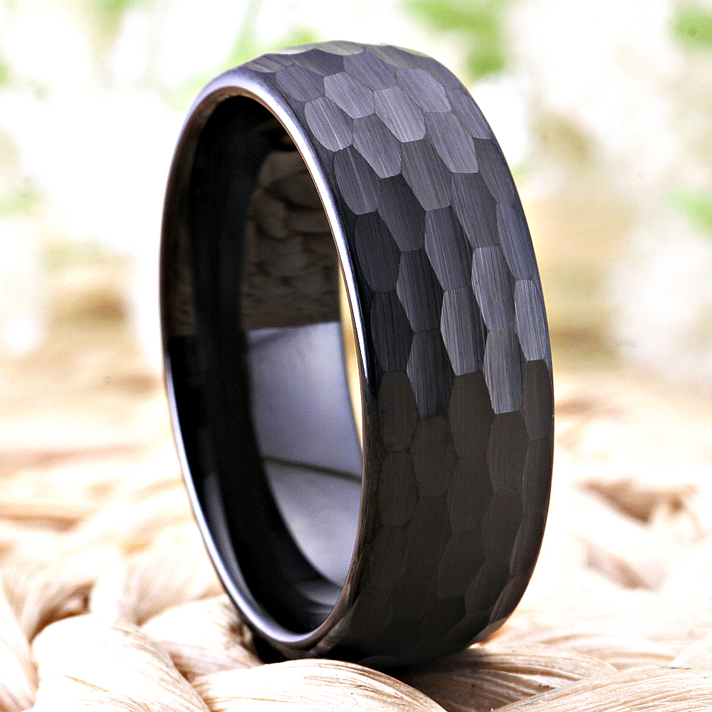 Image 2 - Hammer 8mm Black Domed Tungsten Ring Women Classic Hammered Comfort Fit Faceted Comfort Fit for Men Wedding Band Engagement RingWedding Bands   -