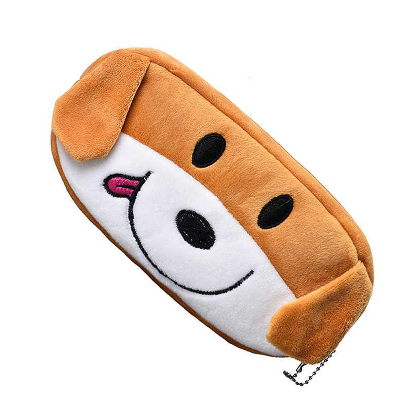 Çocuklar karikatür kalem kutusu peluş büyük kalem çantası kozmetik makyaj karikatür saklama çantası köpek