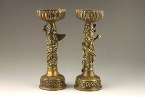 Arts Crafts Copper A Pair of Chinese Handmade Fine Dragon And Phoenix Brass Candlestick