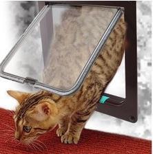 Hot Sale White Safe Pet Cat Small Dog Door 4-Way Locking Lockable Door Flap Catflap Door M size
