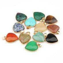 Натуральный Камень Подвески в виде сердца Агаты тигровый глаз Подвески Для Изготовление Ювелирных ожерелий 3,5*2,4*0,7 см