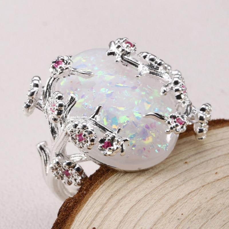 ZHIXUN New Fashion Flower Sliver Vintage Opal Ring for Woman Wedding - Նորաձև զարդեր - Լուսանկար 3
