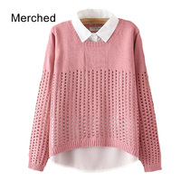Merched Casual Loose Two Piece Patchwork Women Blouses Autumn Brief Holes Hollow Out Chiffon Blusas Mujer