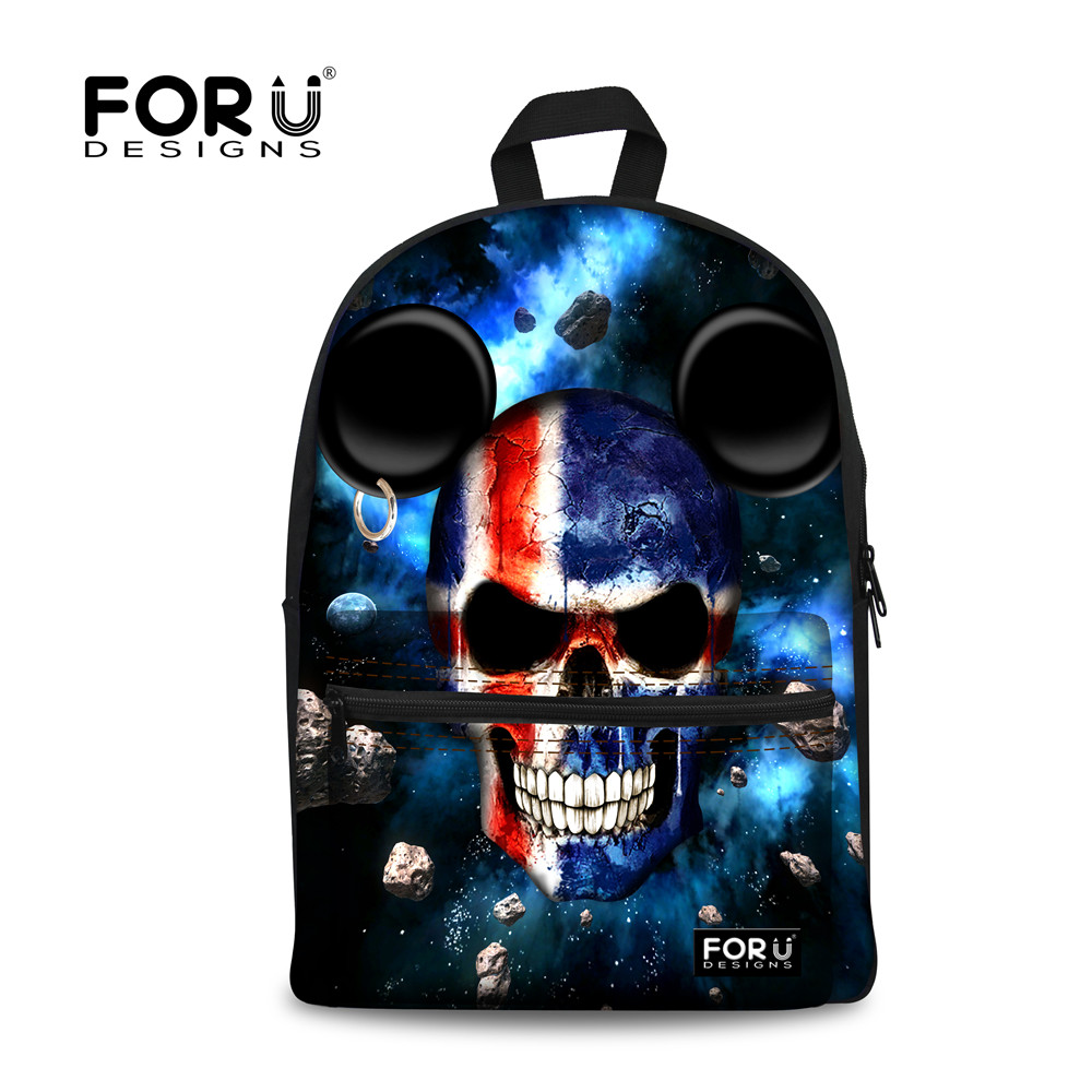 FORUDESIGNS Men Travel Canvas Backpack Mochilas Punk Skull Student School Backpacks for Teenagers Boys Laptop Bagpack Bolso Male vintage casual canvas backpack men rucksacks women bagpack laptop backpacks satchel bag travel school bag unisex mochilas 2017