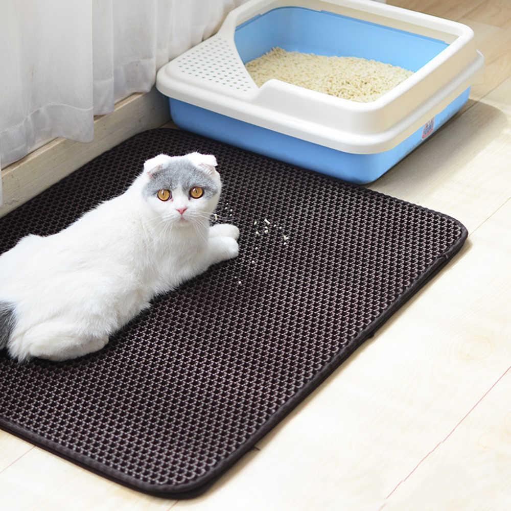 Pet Katzenstreu Matte EVA Doppel-Schicht Katzenstreu Trapper Matten mit Wasserdichte Untere Schicht nicht-slip pet wurf Schwarz Katze Bett matte