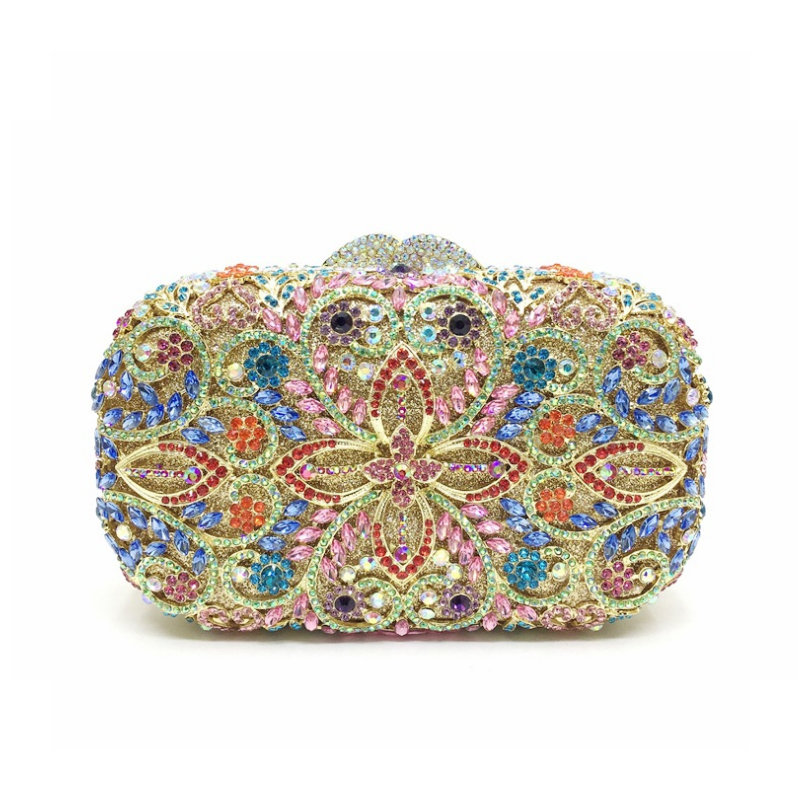 Homeda Women Evening Bag Fashion Pattern Hand Bags Handmade Gem Bags Women Bag Bolsos Mujer Female Clutch k-502