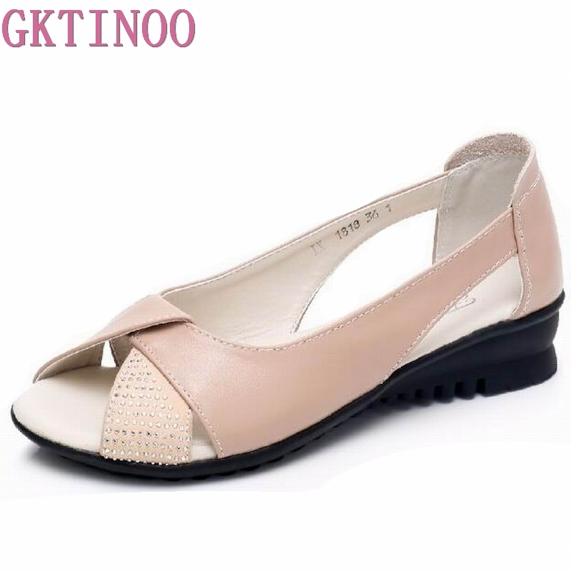 GKTINOO Women Sandals Genuine Leather Sandals Low Wedges Summer Shoes Female Peep Toe Sandals Women Casual Shoes Big Size 35-42 gktinoo summer shoes woman genuine leather sandals open toe women shoes slip on wedges platform sandals women plus size 34 43