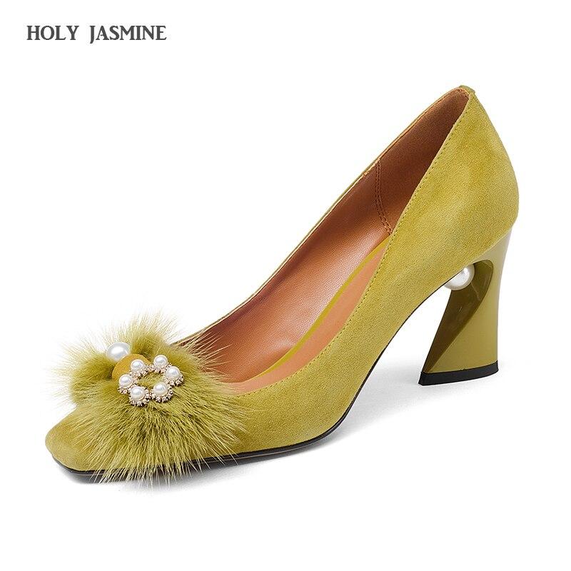 2018 الربيع الصيف طفل الجلد المدبوغ المرأة أحذية عالية الكعب صنادل طراز جلاديتور اللؤلؤ حزام النساء مضخات بوينت تو مثير sandalia الأنثوية-في أحذية نسائية من أحذية على  مجموعة 1