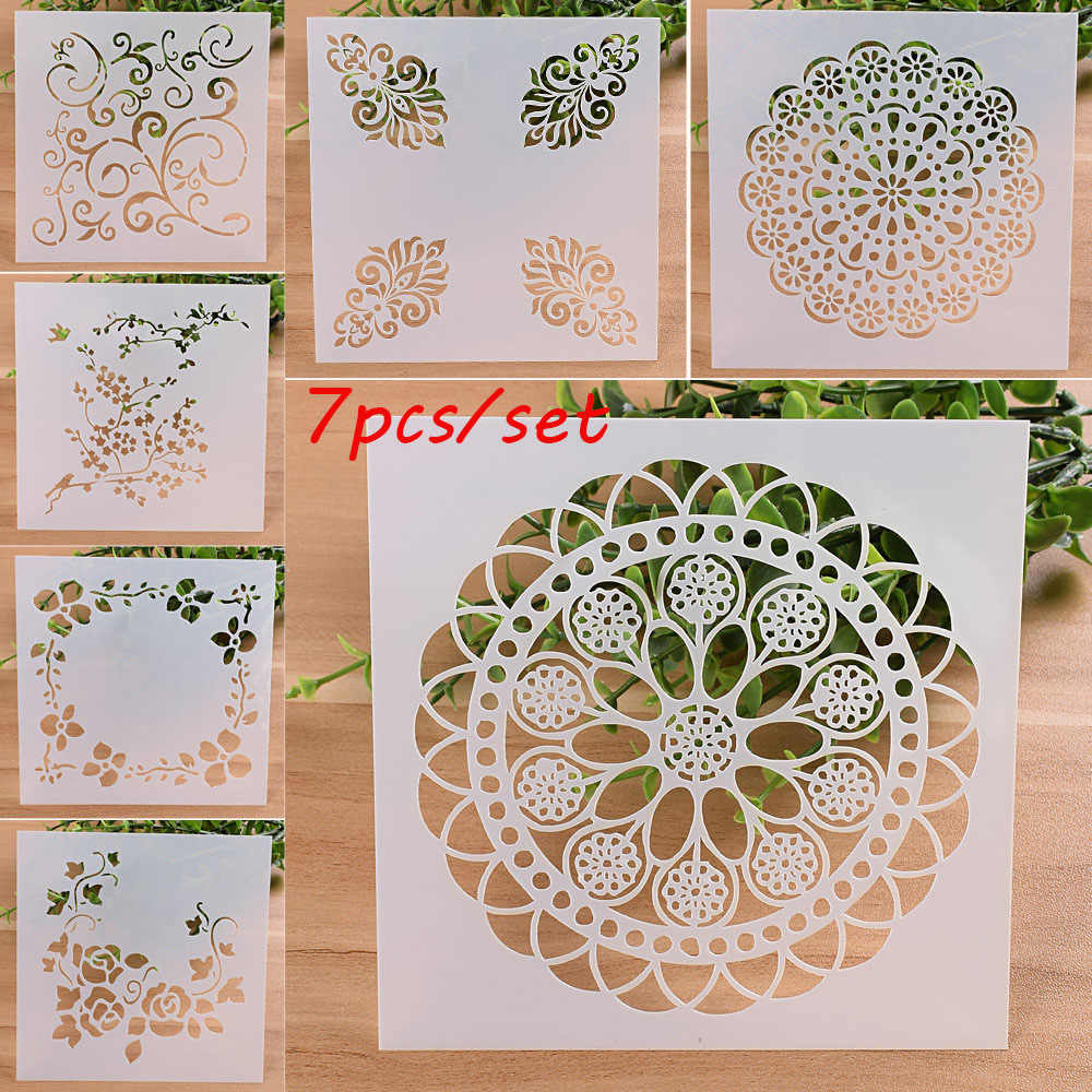 7PCS DIY Craft Layering Stencils For Walls Painting Scrapbooking Stamp Album Decor Embossing Paper Card Template