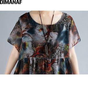 Image 5 - DIMANAF Plus Size Women Beach Dress Print Chiffon Vintage Elegant Lady Vestidos Summer Sundress Loose Casual Female Clothes 2019