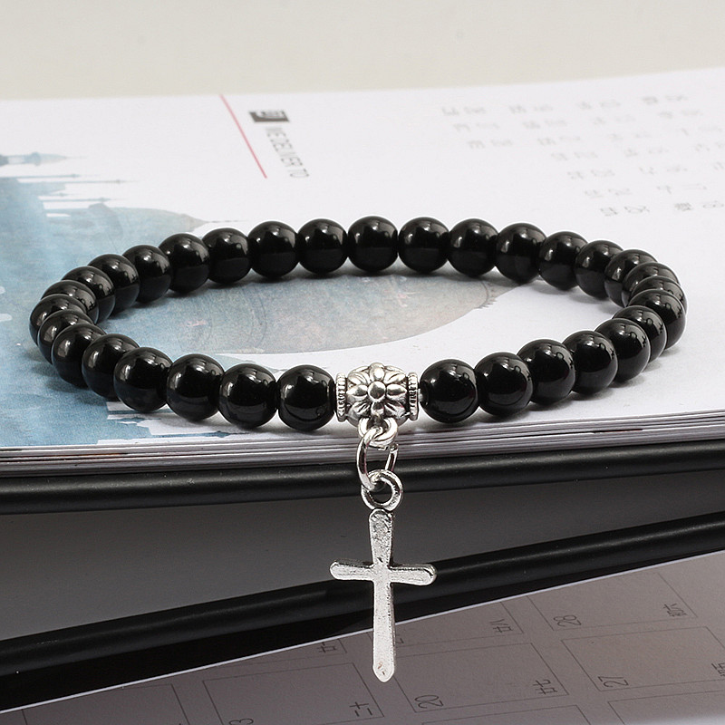 Trendy Men Natural Stone Bracelet Charm Matte Black Cross Beaded Bracelets&Bangles Women Yoga Strand Chain Couple Jewelry Gifts