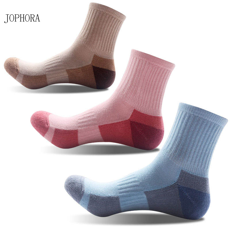 JOPHORA hot New autumn and winter products women's soles thickening outdoor sports socks medium tube hiking cotton socks