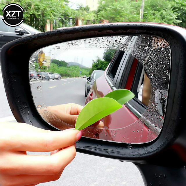 2Pcs Car Rear Mirror Protective Film Anti Fog Window Clear Rainproof Rear View Mirror Protective Soft Film Auto Accessories 3
