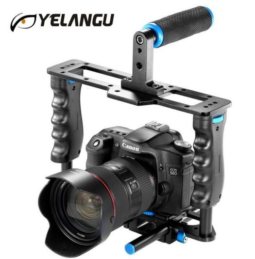 YELANGU C2 Aluminum Alloy Professional DSLR Camera Cage SLR Video Cage Kit With Top Hand Grip For Canon 5D mark II/5D Mark III yelangu professional dslr dual handle shoulder mount rig video dv accessories for canon 5d2 5d3 7d 70d 60d 5d mark iii d810 d610