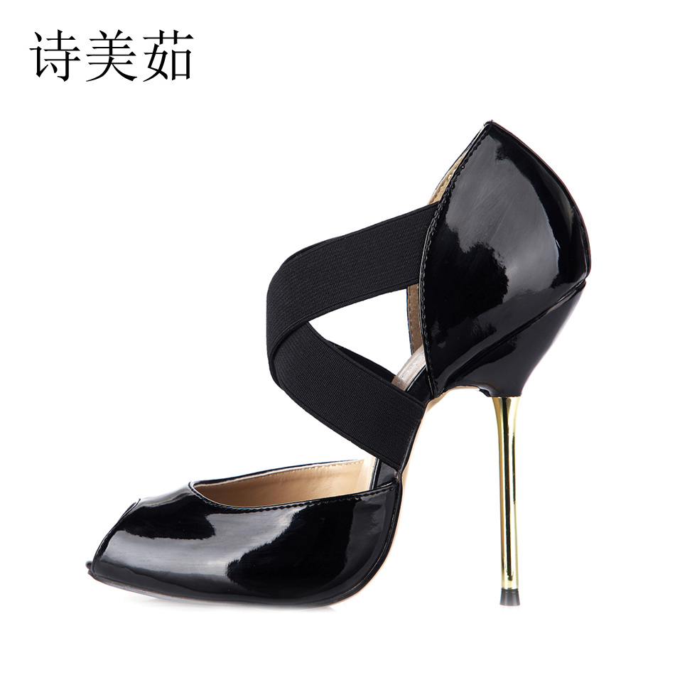 women sexy super high heels platform shoes 2015 elegant red bottom cross strap pumps ladies wedding stiletto shoes mujer zapatos 2016 New Black Sexy Dress Party Shoes Women Peep Toe Stiletto Metal High Heels Cross-Strap Ladies Pumps Zapatos Mujer 3845-d2