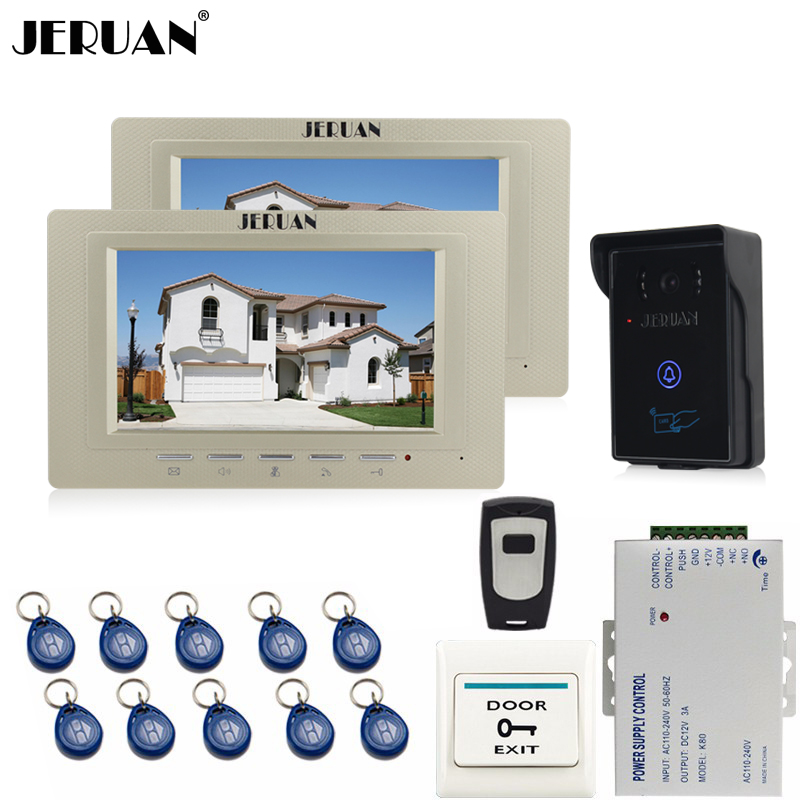 JERUAN 7 inch Video Intercom Video Door Phone System 2 monitors + 700TVL RFID Access Waterproof Touch key Camera+Remote control jeruan apartment 4 3 video door phone intercom system kit 2 monitor hd camera rfid entry access control 2 remote control