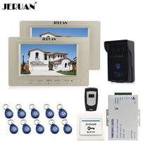 JERUAN 7 Inch Video Intercom Video Door Phone System 2 Monitors 700TVL RFID Access Waterproof Touch