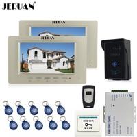 JERUAN 7 Inch Video Intercom Video Door Phone System 2 Monitors 700TVL RFID Access Waterproof Touch