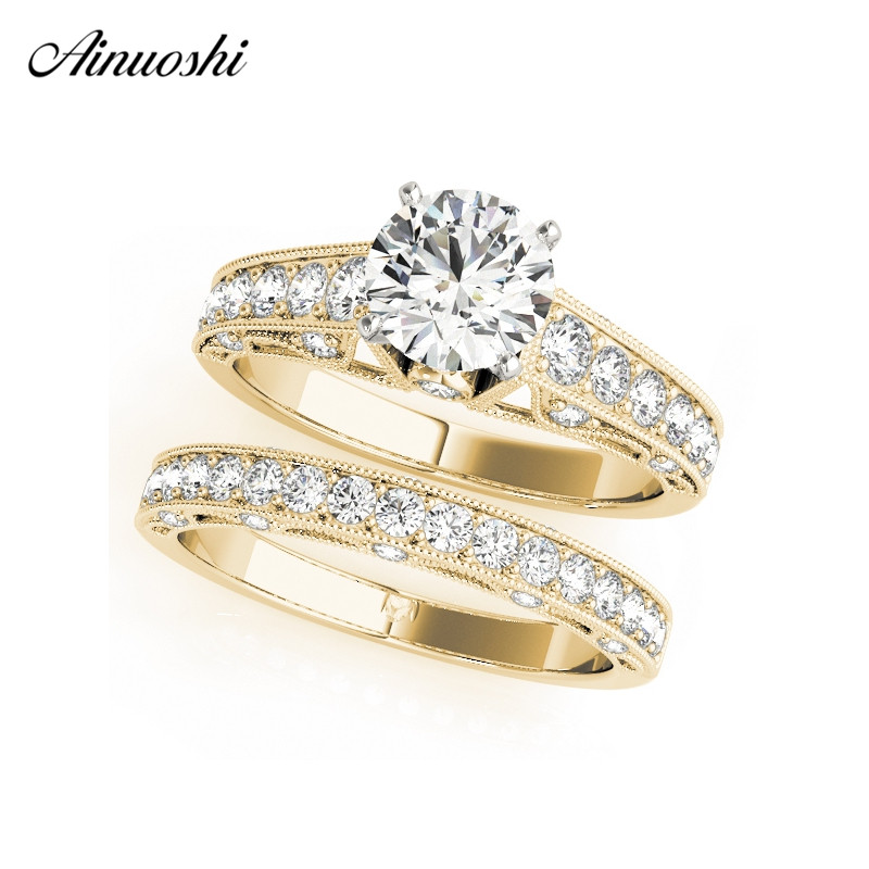 AINUOSHI Trendy 925 Sterling Silver Wedding Yellow Gold Color Engagement Ring Set 1ct Round Bridal Party Ring Sets Jewelry Gifts